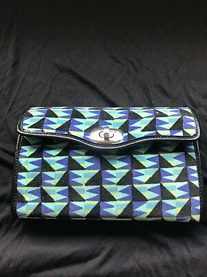 Dorothy Barrick Paris Leather Purse Textured Fabric Wallet