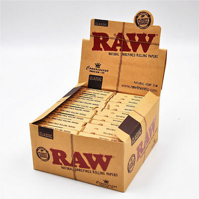 24 RAW Classic Connoisseur King Size Slim Rolling Papers & Tips Full Box