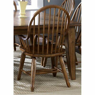 Liberty Furniture Treasures Bow Back Dining Arm Chair in Rustic Oak