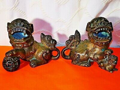 Old Pair Bronze Chinese Fu Foo Dogs Statues Figurines Pierced Ball