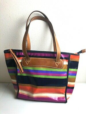 c0f0af8c7 FOSSIL Keyper Satchel Multi-color Stripes Coated Canvas Shopper Tote Bag