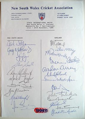 NEW SOUTH WALES v ENGLAND 1986-87 ASHES TOUR OFFICIAL CRICKET AUTOGRAPH SHEET