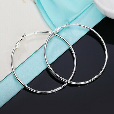 Real Solid 925 Sterling Silver Thin Solid Hoop Earrings Sterling Silver Hoops