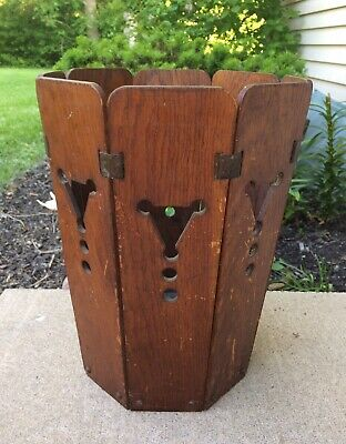 ANTIQUE Waste Basket Mission Oak ARTS & CRAFTS Old From ESTATE
