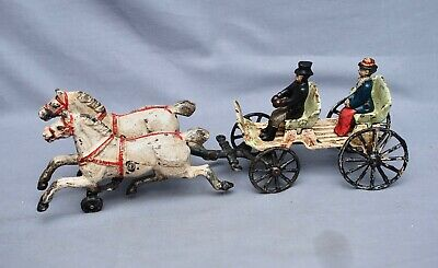 Antique Kenton Two-Horse Drawn Carriage Cast Iron Early 1900's