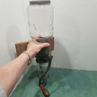 """Antique """"ARCADE CRYSTAL No. 3 COFFEE GRINDER""""  with period catch cup"""