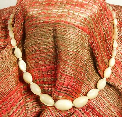 1b429cd9d4d8c VINTAGE MOTHER OF Pearl Beaded Necklace Opalescent Choker Jewelry Luminous