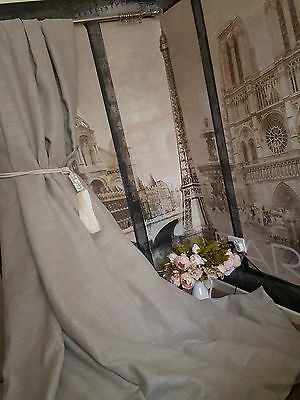 "NEW! Gorgeous 110""W 120""D Rustic Stone 100%Irish Linen Interlined Bay Curtains"