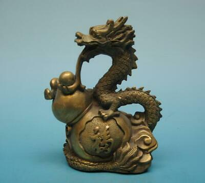 """chinese old copper hand-carved calabash and dragon """"福"""" Word statue e01"""