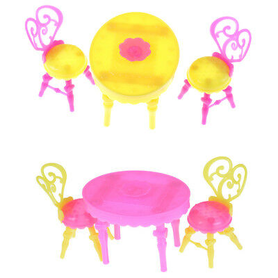 1set Table Chair  doll Dollhouse Dining Room Kitchen Decor Furniture Toy0K