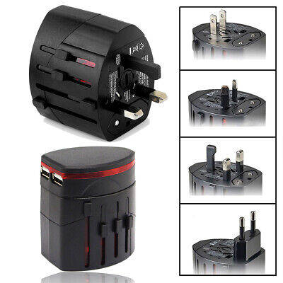 NEW International World Wide Universal Travel Plug Charger Adapter 2 USB PORT AU