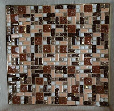 Vtg Inlay Ceramic Tile Mosaic Square Tray Dish Plate Earth Tones Copper Gold