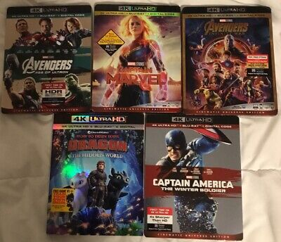Brand New Lot Of 5 Marvel 4k New Release Blu-Ray Combos, Complete With Digitals