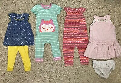 e76d010d7307 Lot of 12-MONTH BABY GIRL CLOTHES rompers dress outfit leggings carters  cat&jack