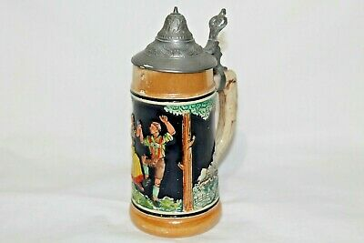Vintage Beer Stein With Pewter Lid, Made In Germany