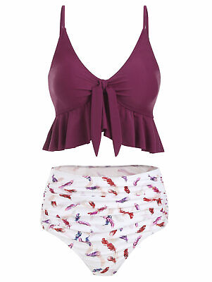 Women Feather Print Knot Ruched High Waisted Tankini Swimsuit Bathing Swimwear