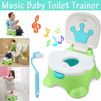 3 In 1 Baby Toddler Toilet Trainer Safety Music Potty Training Seat Fun AU Stock