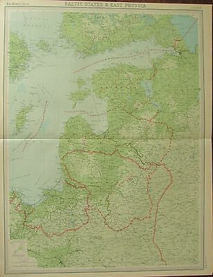 1922 Large Antique Map ~ Baltic States & East Prussia ~ Lithuania Latvia
