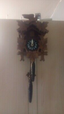 Small Wooden traditional German black forest Cuckoo Clock For Spares Or Repair