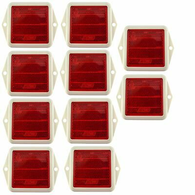 Red Reflector Square for Fence / Gate Posts Trailers 10 PACK TR215