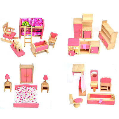 Kids Children Wooden Furniture Dolls Family House Miniature Doll Toy 5 Pink Room
