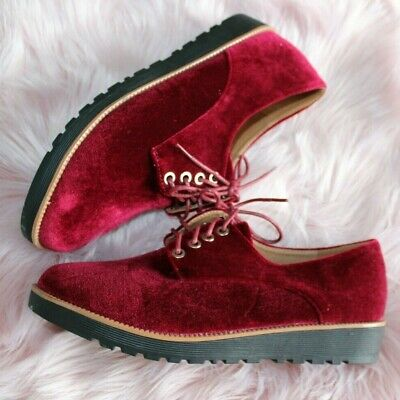 Ladies RED Flat Brogue Low Mid Platform Lace Up Creepers Smart Work Shoes Sizes