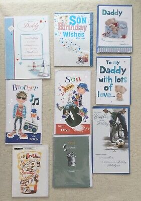 JobLot Of 21 Birthday Cards For Male Relations Brother Dad Son From Mixed Brands