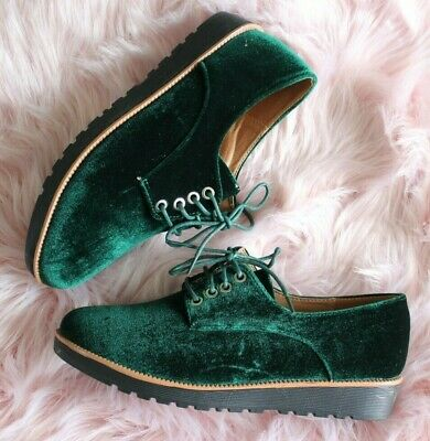 Ladies GREEN Flat Brogue Low Mid Platform Lace Up Creepers Smart Work Shoes Size