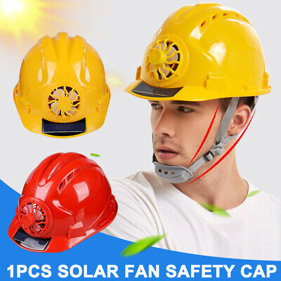Construction Hard Hat Adjustable Safety Helmet With Solar Powered Cooling Fan