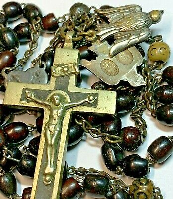 † 1800S Nun's Antique Upside Down Center Gorgeous Bovine French Rosary Rosario †