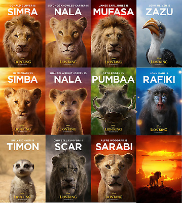 The Lion King Poster 2019 Movie Live Action Character Art Film Print 24x36""