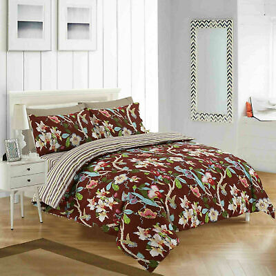 Duvet Cover With Fitted Sheet Pillow Case Burgundy Empress King Size Bedding Set
