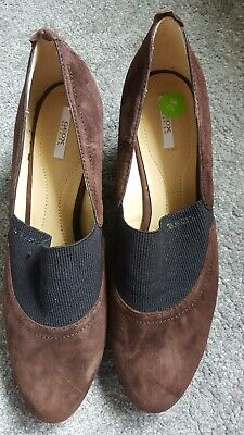 Geox Respira D Taylor G Goat Suede Naplack Stone Grey Brown Uk 4 Heeled Shoes