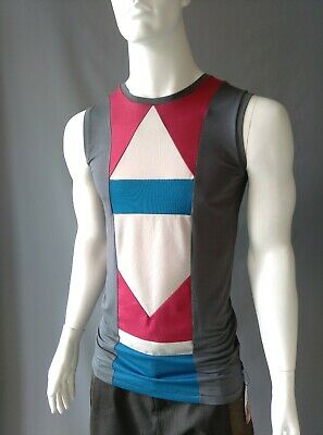 Emily Sharp handmade mens t-shirt vest. Grey  geometric. L or XL. Slim fit