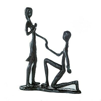 Modernist XL Burnished Cast Iron Abstract Of 2 Marry Me Sculpture