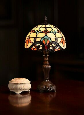 """Stunning 8"""" Beige Baroque Style Tiffany Leadlight Stained Glass Mini Table Lamp"""