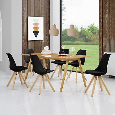 Dining Table with 6 Padded Chairs BLACK lacquered Bamboo 180x80cm SET Retro