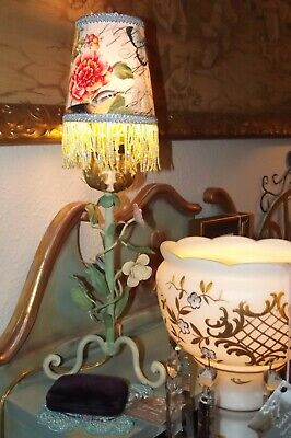Antique Pair Tole Table Lamps ITALY-FREE SHADES