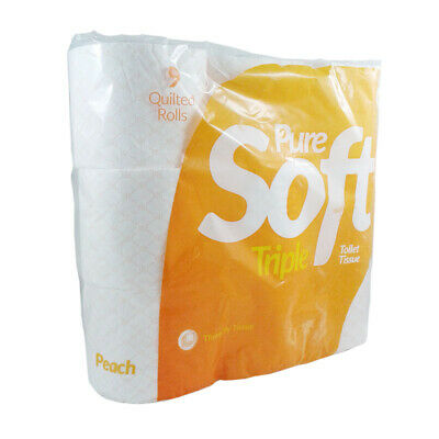 Toilet Roll Pure Soft 3 Ply Peach 9 Roll Pack NEW!!