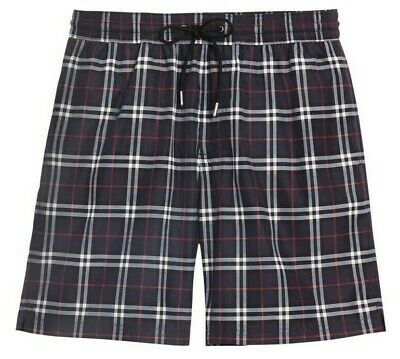 d3135466a0 BURBERRY Men's Guildes Check Beach Swim Shorts Trunks Small S Navy Blue  $290 NWT