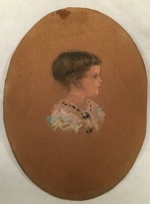 Antique Folk Art Pastel Portrait Painting Of A Young Child Girl