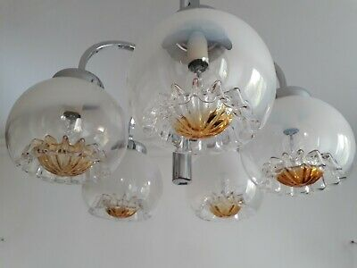 LUSTRE chrome 5 globe verre murano suspension lampe SCIOLARI light MAZZEGA