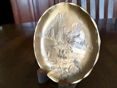 Hand-made bronze plate with eagle landing by Wendell August Forge