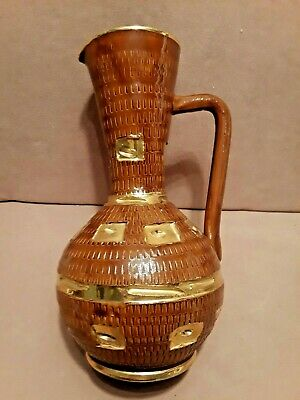Mid Century Modern FRATELLI FANCIULLACCI Italian Pottery Brown/Gold Pitcher Vase