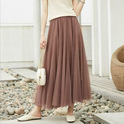 2019 Korean Womens Long Pleated Mesh Skirt High Waist Slim Thin A-line Skirt hot
