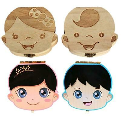 Lovely Wooden Kids Tooth Box Wooden Boy Girl Save Milk Teeth Collection DI