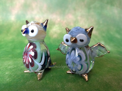Owl Blown Glass Figurine, Art Hand Home Decor Animal Figure Bird Miniature # 1