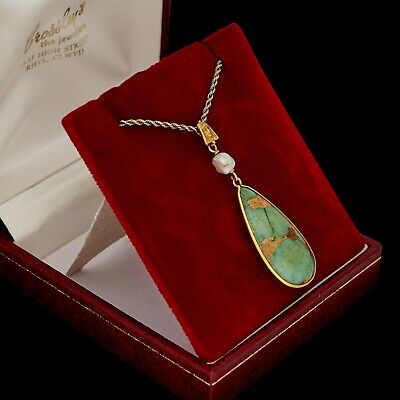 Antique Vintage Deco 14k Yellow Gold Egyptian Revival Persian Turquoise Necklace