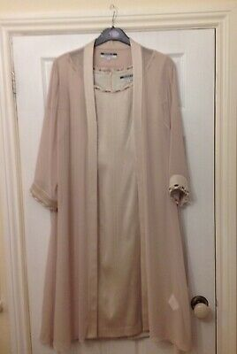 Ivory Cream lined dress and chiffon over jacket size 16 matching shoes and bag