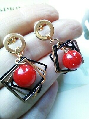 AD45 Art Deco Vintage Gold Plated Multi Square Geometric Red Drop Ball Earrings